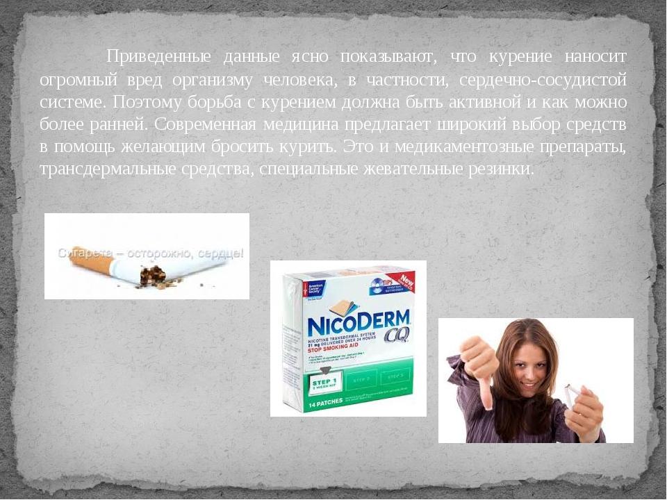 Приведенные данные ясно показывают, что курение наносит огромный вред орган...