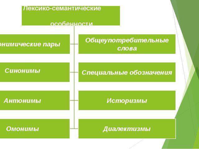 Лексико-семантические особенности Синонимические пары Общеупотребительные сл...