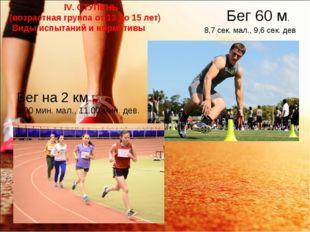 Бег 60 м. Бег на 2 км 9.00 мин. мал., 11.00 мин. дев. 8,7 сек. мал., 9,6 сек.