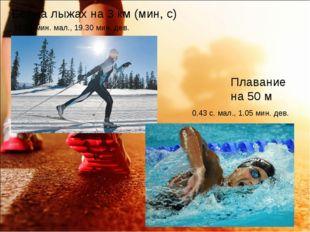 Бег на лыжах на 3 км (мин, с) 16.30 мин. мал., 19.30 мин. дев. Плавание на 50
