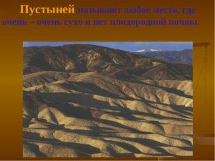 Пустыней называют любое место, где очень – очень сухо и нет плодородной почвы.