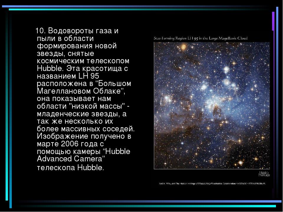 10. Водовороты газа и пыли в области формирования новой звезды, снятые косми...
