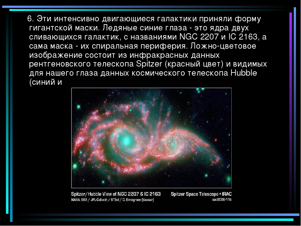 6. Эти интенсивно двигающиеся галактики приняли форму гигантской маски. Ледя...