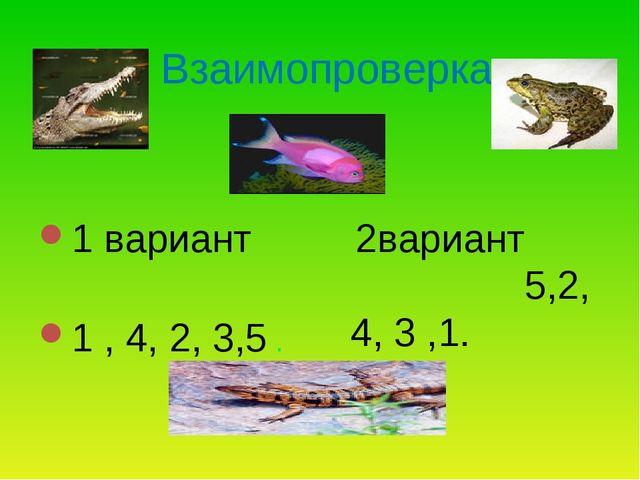 Взаимопроверка 1 вариант 1 , 4, 2, 3,5 . 2вариант 5,2, 4, 3 ,1.