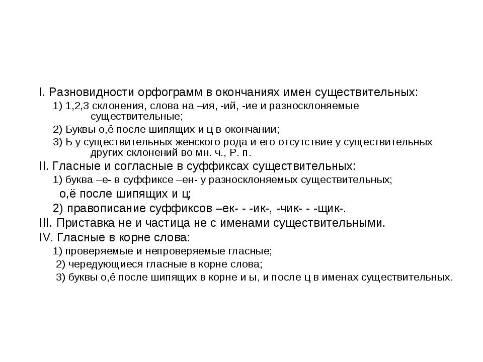 I. Разновидности орфограмм в окончаниях имен существительных: 1) 1,2,3 склон...