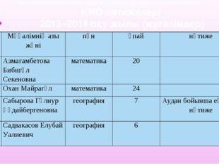 2013 -2014 оқу жылындағы ЖМЦ пәндері мұғалімдерінің КИО бойынша көрсеткен нәт