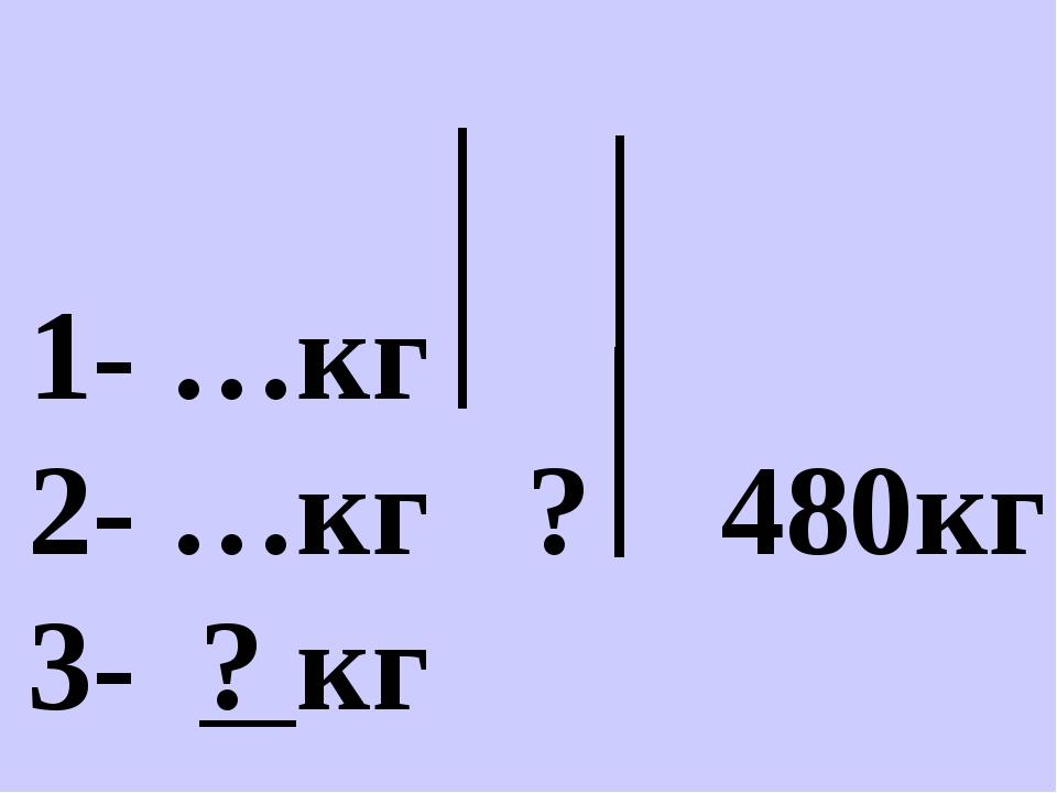 1- …кг 2- …кг ? 480кг 3- ? кг