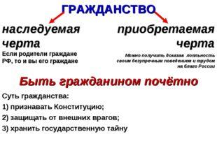 ГРАЖДАНСТВО наследуемая черта Если родители граждане РФ, то и вы его граждане