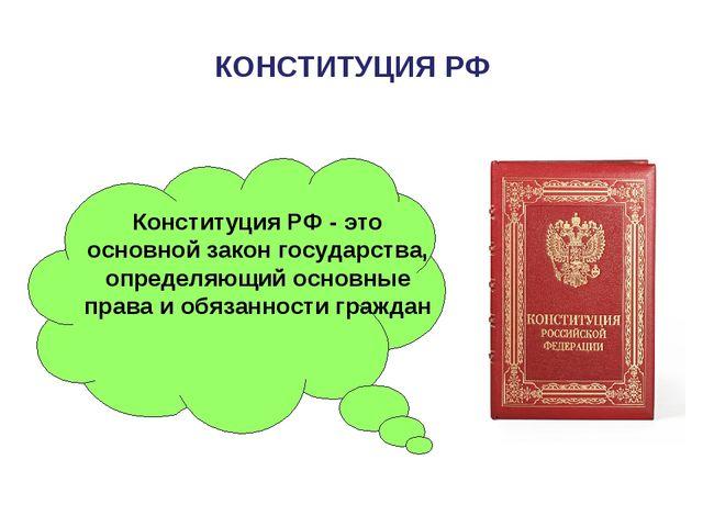 КОНСТИТУЦИЯ РФ Конституция РФ - это основной закон государства, определяющий...