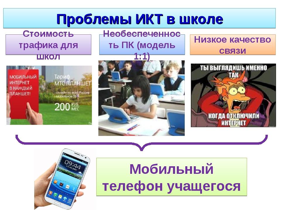 Проблемы ИКТ в школе Стоимость трафика для школ Необеспеченность ПК (модель 1...