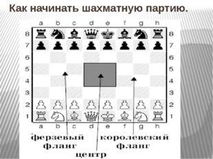 Как начинать шахматную партию.