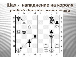 Шах - нападнение на короля любой фигуры или пешки