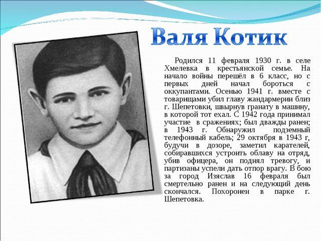 Родился 11 февраля 1930 г. в селе Хмелевка в крестьянской семье. На начало во...