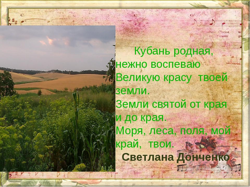Кубань родная, нежно воспеваю Великую красу твоей земли. Земли святой от кр...