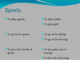 Sports To play games – To go in for sports – To do a lot of/a bit of sports T