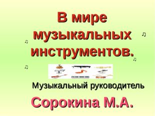 В мире музыкальных инструментов. Сорокина М.А. Музыкальный руководитель ♫ ♫ ♫