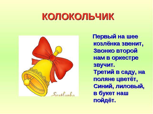 КОЛОКОЛЬЧИК Первый на шее козлёнка звенит, Звонко второй нам в оркестре звучи...