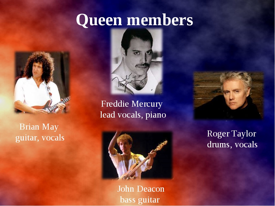 Queen members Brian May guitar, vocals Roger Taylor drums, vocals Freddie Me...