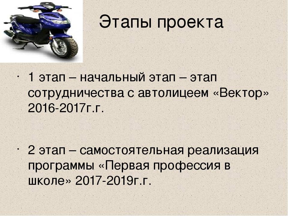 Этапы проекта 1 этап – начальный этап – этап сотрудничества с автолицеем «Ве...
