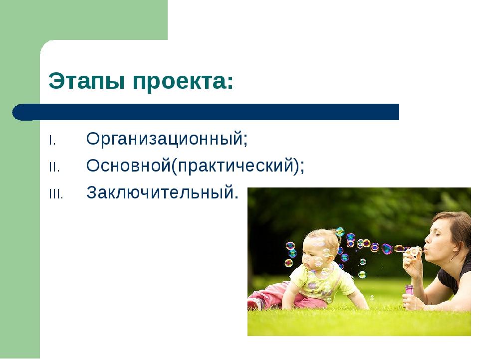 Этапы проекта: Организационный; Основной(практический); Заключительный.