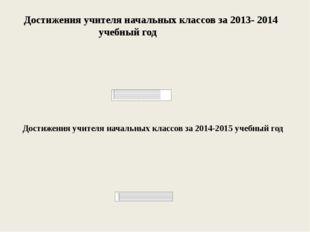 Достижения учителя начальных классов за 2013- 2014 учебный год Достижения