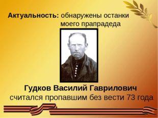 Актуальность: обнаружены останки моего прапрадеда Гудков Василий Гаврилович