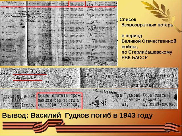Вывод: Василий Гудков погиб в 1943 году Список безвозвратных потерь в период...