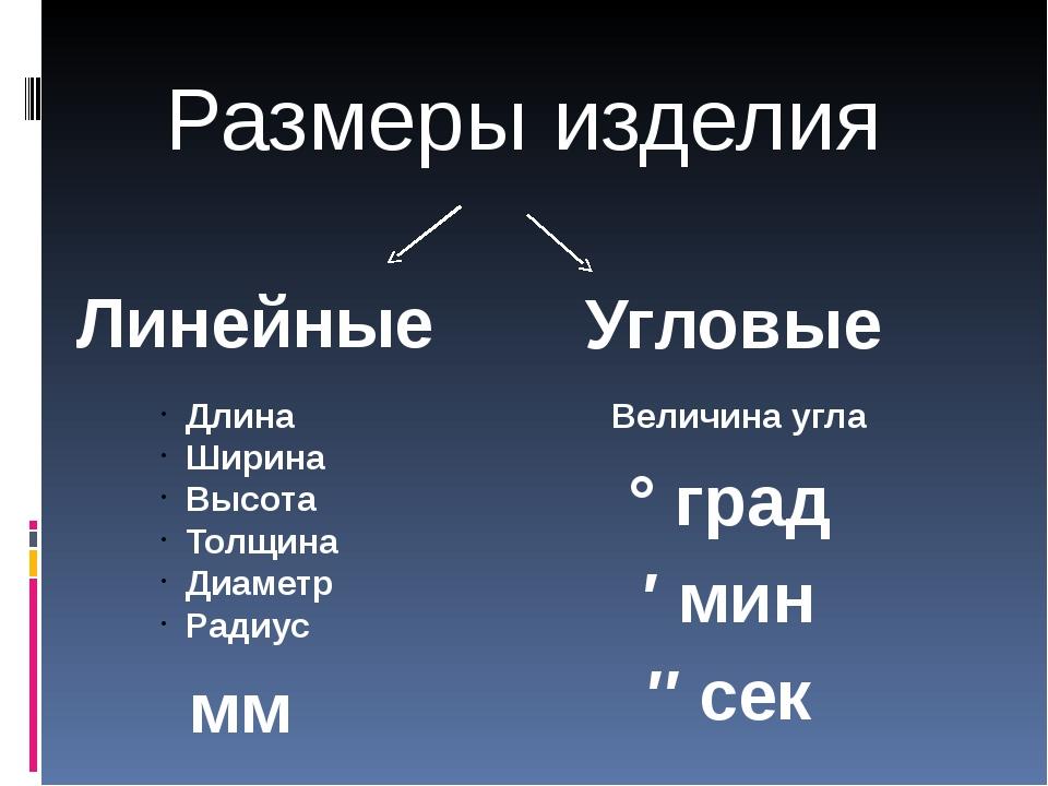 Линейные Угловые Длина Ширина Высота Толщина Диаметр Радиус мм ° град ′ мин...