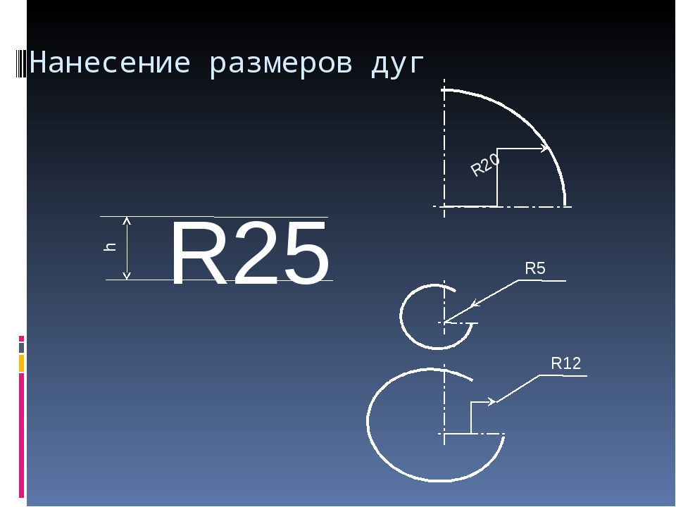Нанесение размеров дуг R20 R12 R5 R25 h