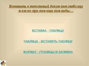 Вставить в текстовый документ таблицу можно при помощи команды… ВСТАВКА→ТАБЛИ