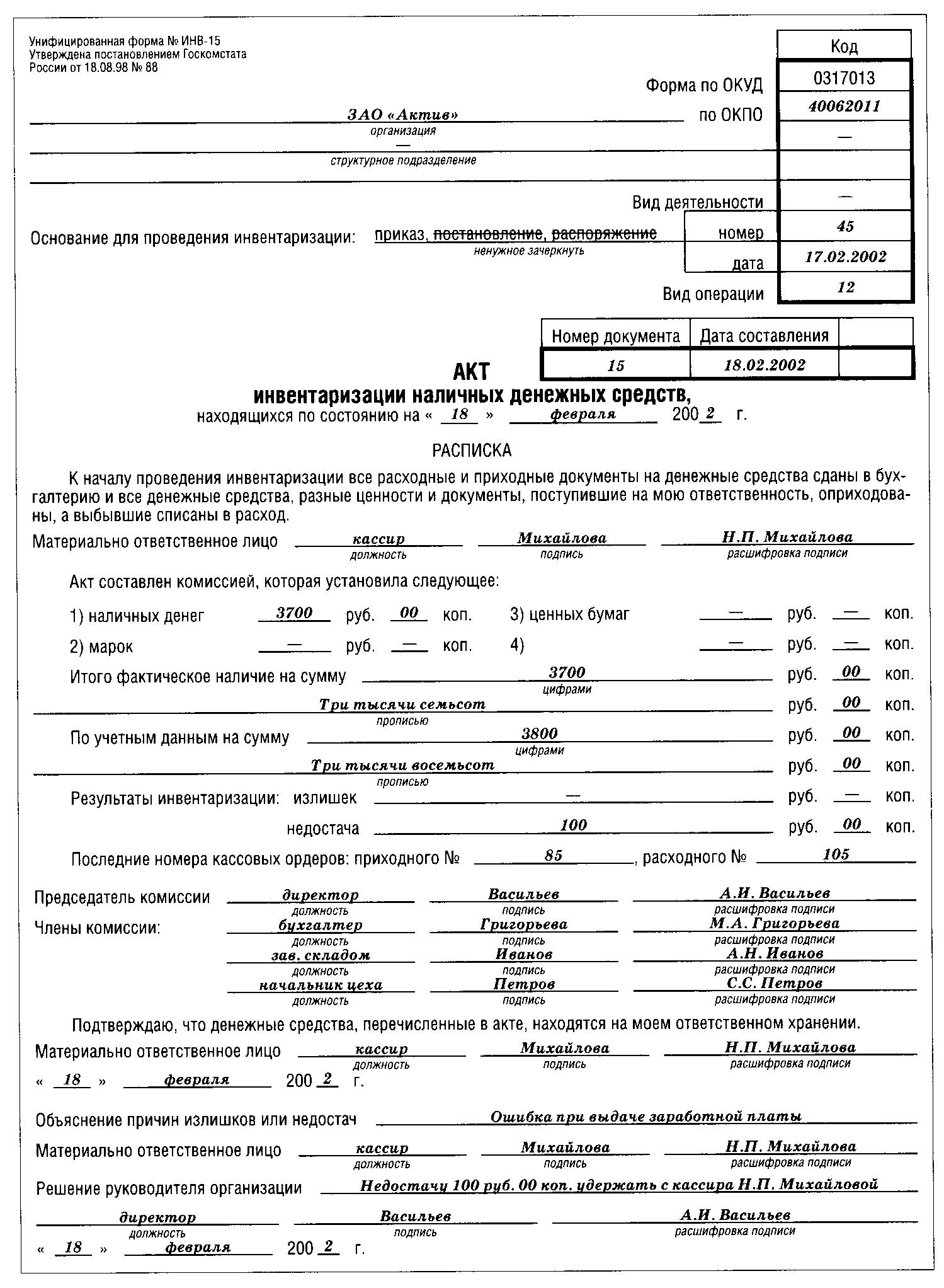 приказ на проведение инвентаризации кассы бланк
