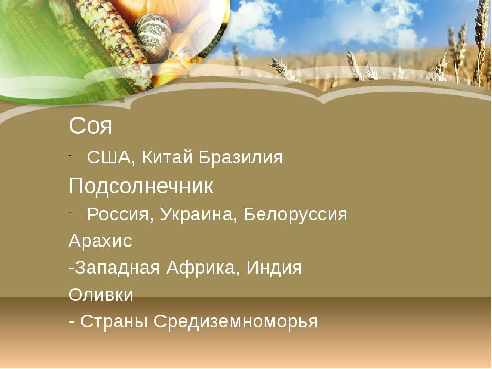 Сахарный тростник Индия, Бразилия, Китай Сахарная свекла Россия, Украина, США...