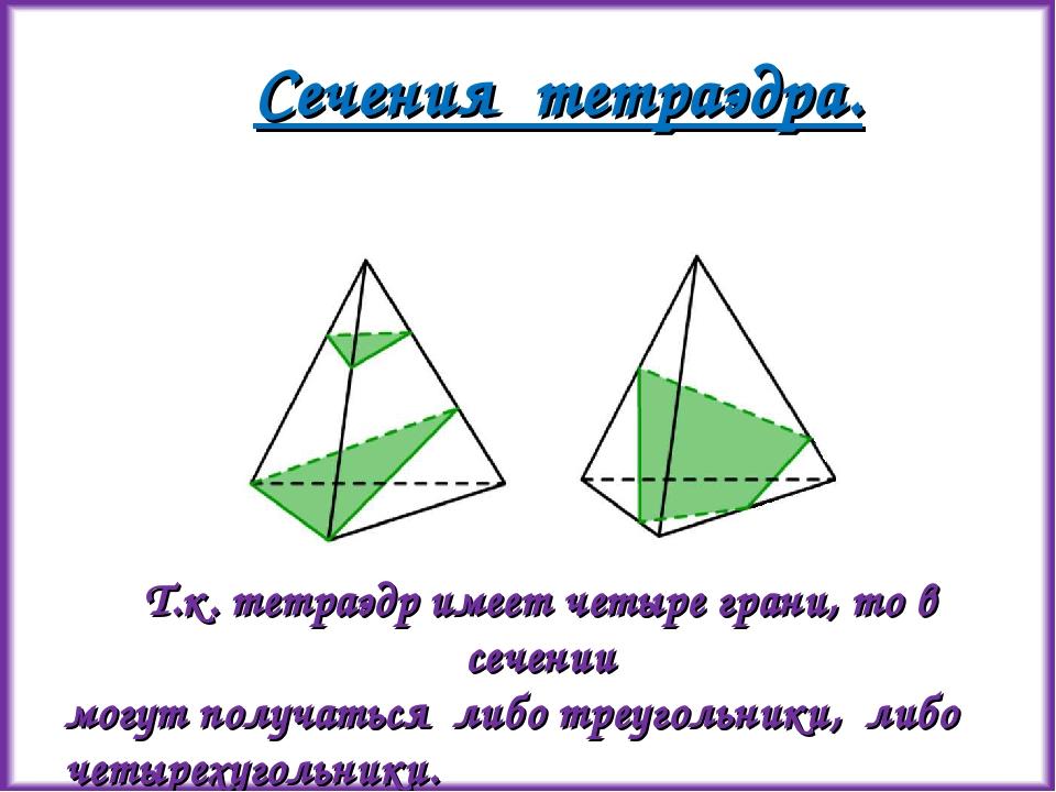 Сечения тетраэдра. Т.к. тетраэдр имеет четыре грани, то в сечении могут получ...
