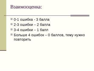 Взаимооценка: 0-1 ошибка - 3 балла 2-3 ошибки – 2 балла 3-4 ошибки – 1 балл Б