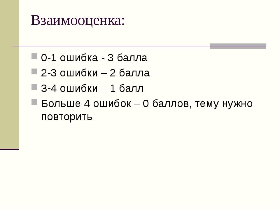 Взаимооценка: 0-1 ошибка - 3 балла 2-3 ошибки – 2 балла 3-4 ошибки – 1 балл Б...
