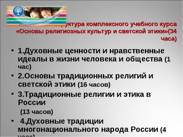 Структура комплексного учебного курса «Основы религиозных культур и светской...
