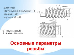 Основные параметры резьбы Диаметры наружный (номинальный) – d; средний – d2;