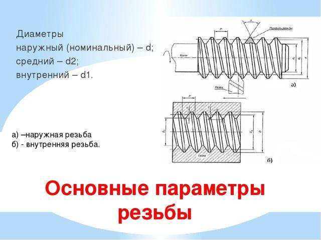 Основные параметры резьбы Диаметры наружный (номинальный) – d; средний – d2;...