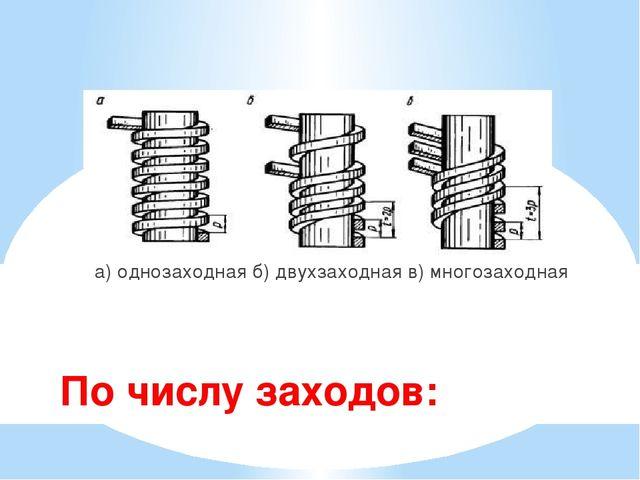 По числу заходов: а) однозаходная б) двухзаходная в) многозаходная