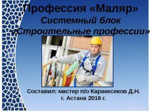 Профессия «Маляр» Системный блок «Строительные профессии» Составил: мастер п
