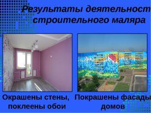 Результаты деятельности строительного маляра Окрашены стены, поклеены обои П