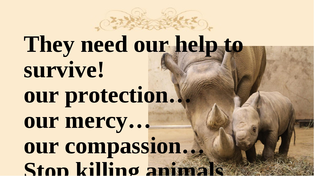 They need our help to survive! our protection… our mercy… our compassion… Sto...