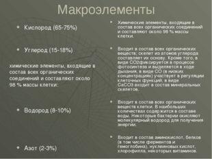 Макроэлементы Кислород (65-75%) Углерод (15-18%) Водород (8-10%) Азот (2-3%)