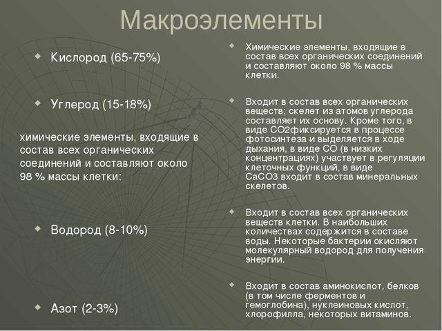 Макроэлементы Кислород (65-75%) Углерод (15-18%) Водород (8-10%) Азот (2-3%)...