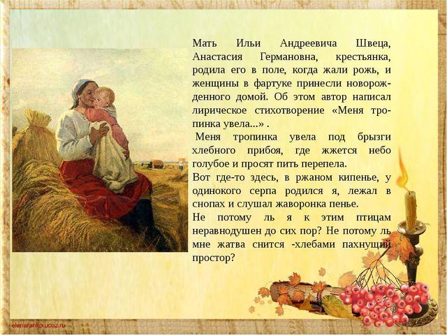 Мать Ильи Андреевича Швеца, Анастасия Германовна, крестьянка, родила его в по...