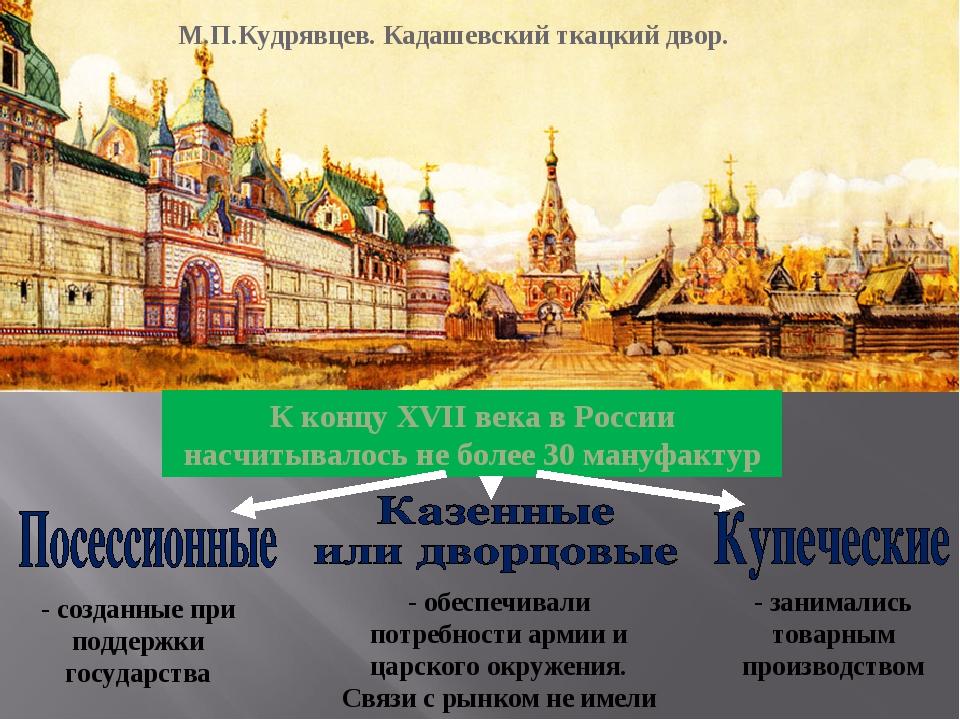 М.П.Кудрявцев. Кадашевский ткацкий двор. К концу XVII века в России насчитыва...