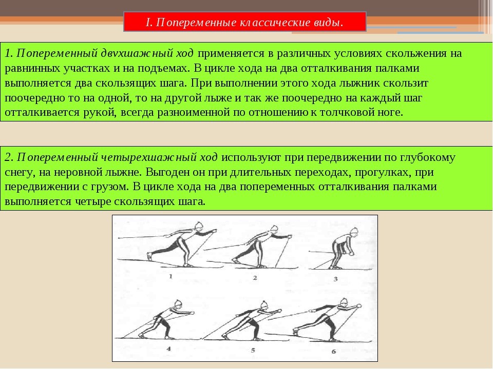 2. Попеременный четырехшажный ход используют при передвижении по глубокому сн...