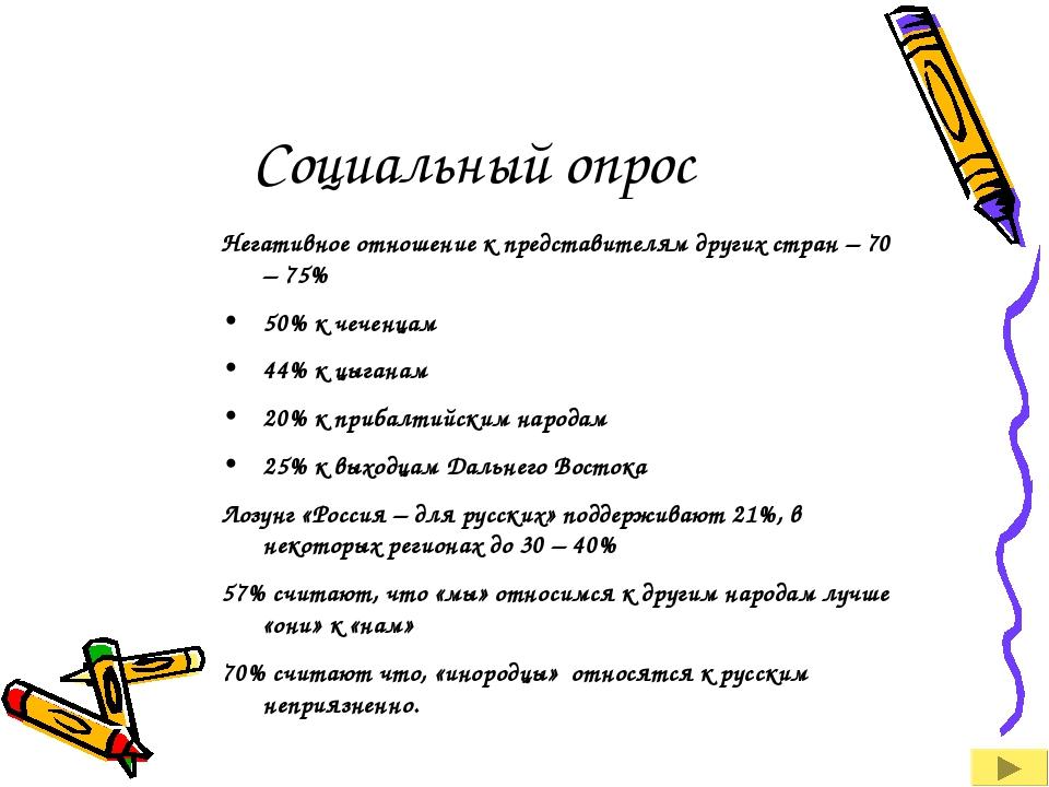 Социальный опрос Негативное отношение к представителям других стран – 70 – 75...
