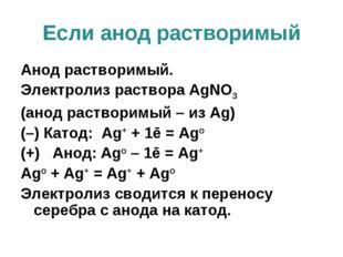 Если анод растворимый Анод растворимый. Электролиз раствора AgNO3 (анод раств