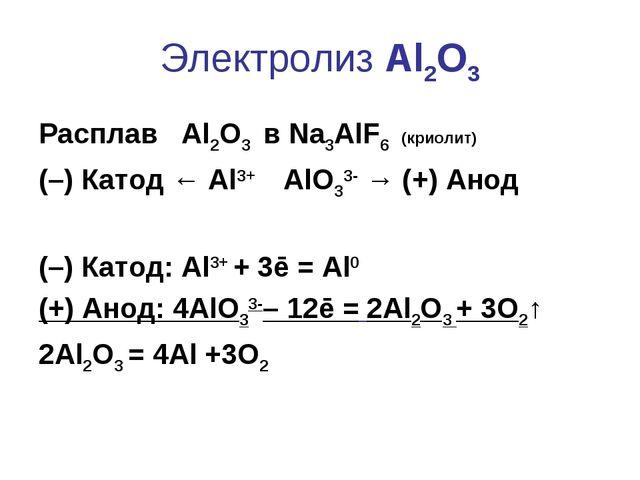 Электролиз Al2O3 Расплав Al2O3 в Na3AlF6 (криолит) (–) Катод ← Al3+ AlO33- →...